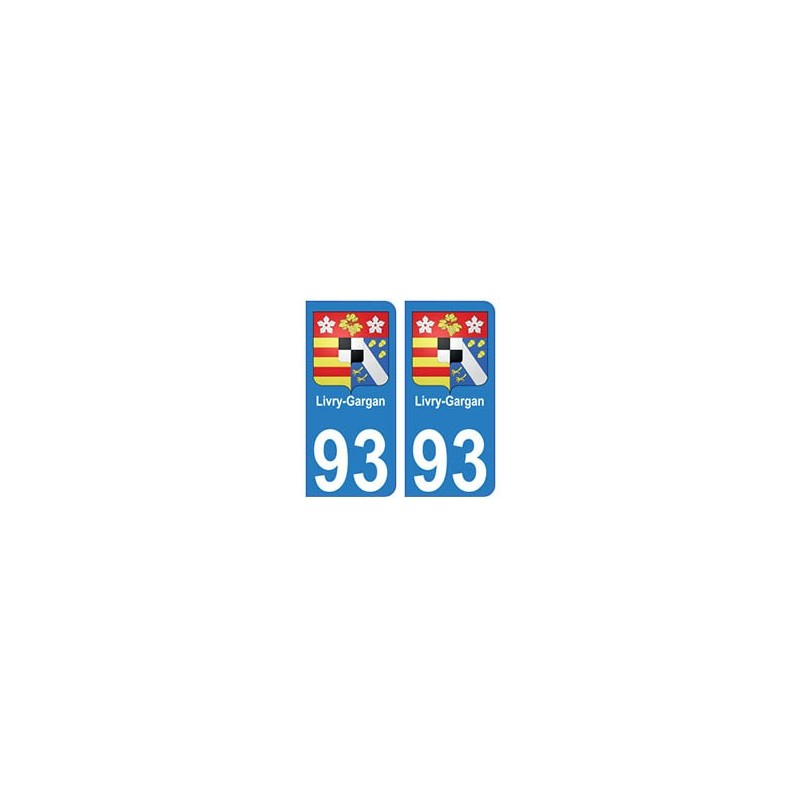93 livry gargan blason autocollant plaque immatriculation stickers ville. Black Bedroom Furniture Sets. Home Design Ideas