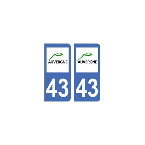 43 haute loire autocollant plaque immatriculation for 43 haute loire