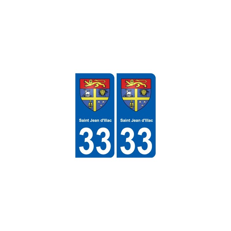 33 saint jean d 39 illac blason ville sticker autocollant plaque immatriculation d partement. Black Bedroom Furniture Sets. Home Design Ideas