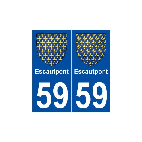 59 escautpont blason autocollant plaque immatriculation stickers ville. Black Bedroom Furniture Sets. Home Design Ideas