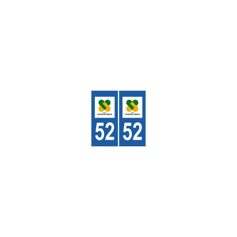 Autocollant 52 plaque immatriculation blason d partement for 52 haute marne