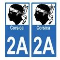 2A Haute-Corse autocollant plaque