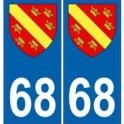 68 Haut Rhin autocollant plaque blason armoiries stickers département