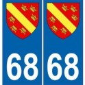68 Haut Rhin autocollant plaque blason armoiries stickers département