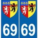 69 Rhône autocollant plaque blason armoiries stickers département