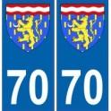 70 Haute-Saône autocollant plaque blason armoiries stickers département