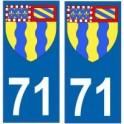71 Saône et Loire autocollant plaqueblason armoiries stickers département