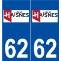 62 Haisnes logo autocollant plaque stickers ville