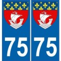 75 Paris sticker plate coat of arms coat of arms stickers department