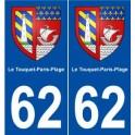 62 Le Touquet-Paris-Plage blason autocollant plaque stickers ville