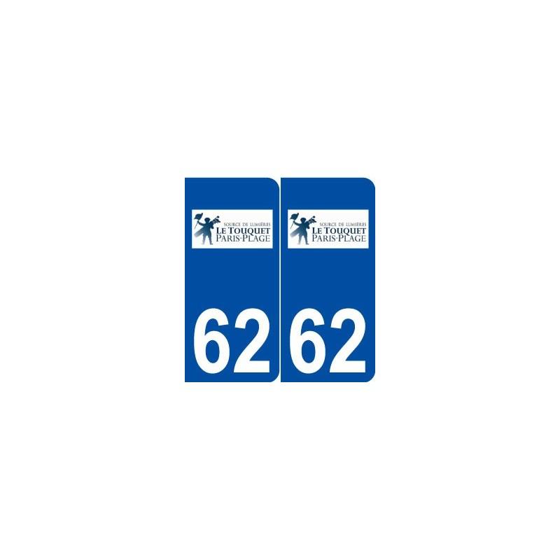 62 le touquet paris plage logo autocollant plaque immatriculation. Black Bedroom Furniture Sets. Home Design Ideas