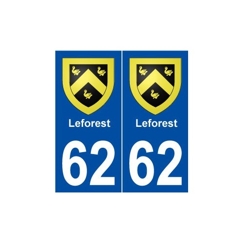 62 Leforest blason autocollant plaque stickers ville
