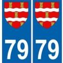 79 Deux Sèvres autocollant plaque blason armoiries stickers département