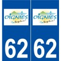 62 Oignies logo autocollant plaque stickers ville