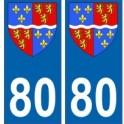 80 Somme autocollant plaque blason armoiries stickers département