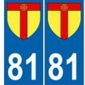 81 Tarn autocollant plaque blason armoiries stickers département