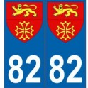 82 Tarn-et-Garonne autocollant plaque blason armoiries stickers département