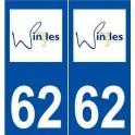 62 Wingles logo autocollant plaque stickers ville