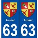 63 Aulnat blason autocollant plaque stickers ville