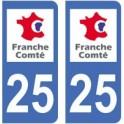 25 Doubs autocollant plaque