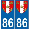 86 Vienne autocollant plaque blason armoiries stickers département
