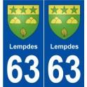 63 Lempdes blason autocollant plaque stickers ville