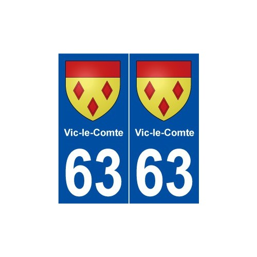 63 vic le comte blason autocollant plaque immatriculation for Piscine vic le comte