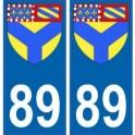 89 Yonne autocollant plaque blason armoiries stickers département