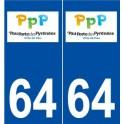 64 Pau logo sticker plate stickers city
