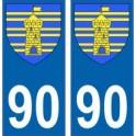 90 Territoire de Belfort autocollant plaque blason armoiries stickers département