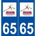 65 Séméac logo autocollant plaque stickers ville
