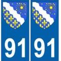 91 Essonne autocollant plaque blason armoiries stickers département