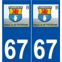 67 Betschdorf logo autocollant plaque stickers ville