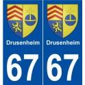 67 Drusenheim blason autocollant plaque stickers ville