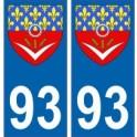 93 Seine Saint Denis autocollant plaque blason armoiries stickers département