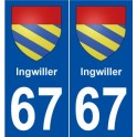67 Ingwiller coat of arms sticker plate stickers city