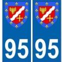 95 Val d'Oise autocollant plaque blason armoiries stickers département