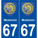 67 Molsheim coat of arms sticker plate stickers city