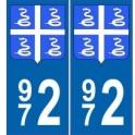 972 Martinique autocollant plaque blason armoiries stickers département