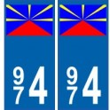 974 La Réunion autocollant plaque blason armoiries stickers département