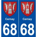 68 Cernay coat of arms sticker plate stickers city