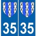 35 Ille et Vilaine autocollant plaque blason armoiries stickers département