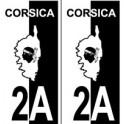 2A Haute-Corse autocollant plaque fond rouge noir