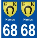 68 Kembs blason autocollant plaque stickers ville