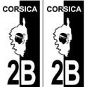 2B Corse du Sud autocollant plaque blason fond noir blanc