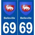 69 Belleville blason autocollant plaque stickers ville