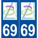 69 Brindas logo autocollant plaque stickers ville