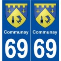 69 Communay blason autocollant plaque stickers ville