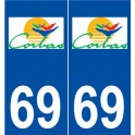 69 Corbas logo sticker plate stickers city