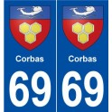 69 Corbas coat of arms sticker plate stickers city